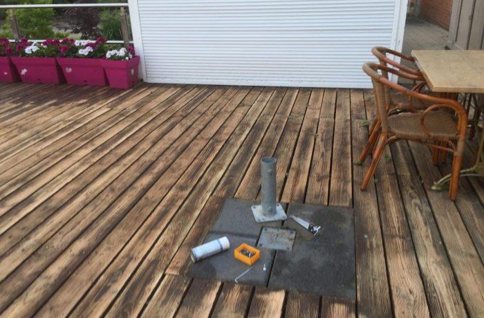 Wir machen unsere Terrasse für unsere Gäste wieder schön